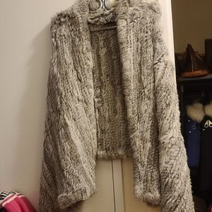 Danier fur vest long rabbit gray new without tag